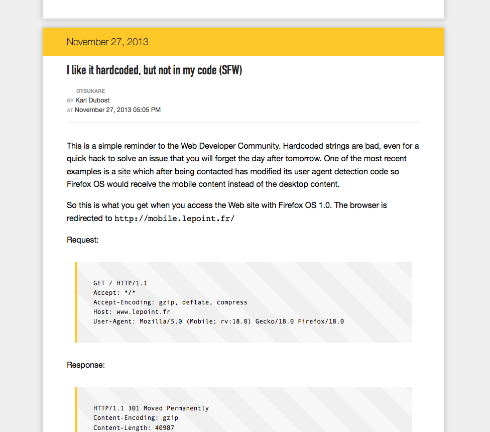 screenshot of code on a blog post