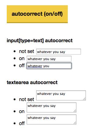 Example of autocorrect in Safari