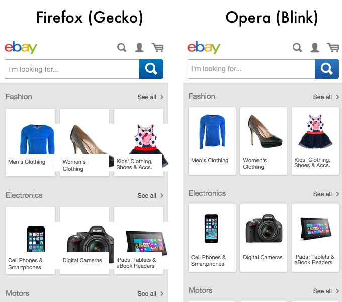 Screenshots of mobile ebay site