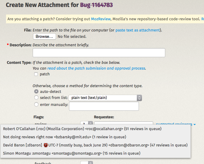 Window for attaching bugs in bugzilla