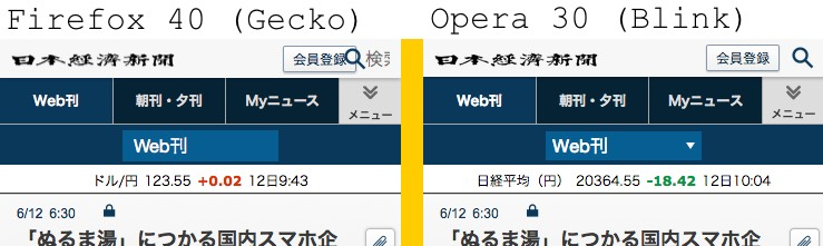 nikkei site in Gecko and Blink