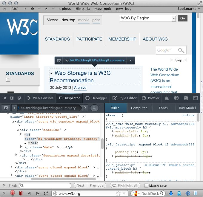 Firefox 22 Screenshot with developer tools