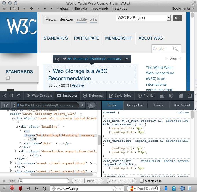 Firefox 22 Screenshot with developer tools