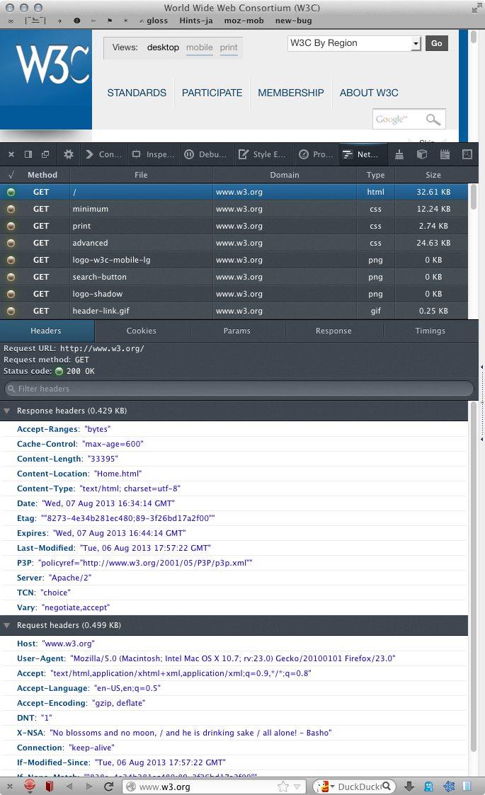 Firefox 23 network panel