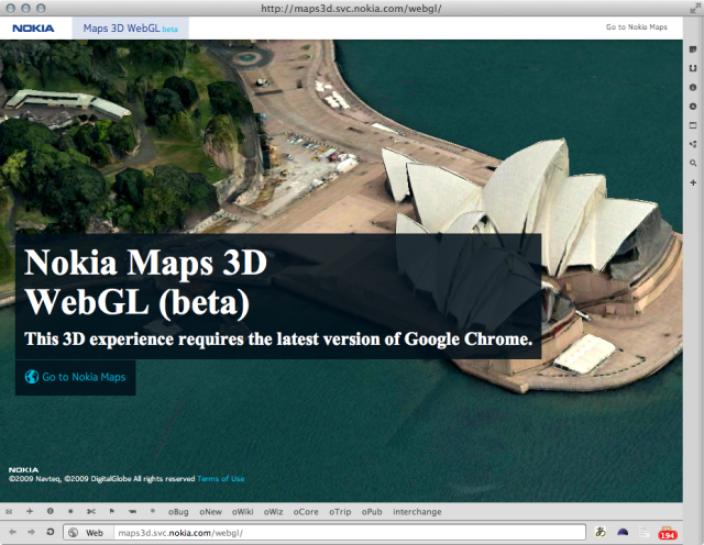Map of Nokia here in WebGL